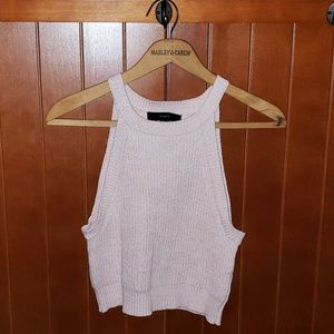 Light Peach Knit Ribbed Halter Crop